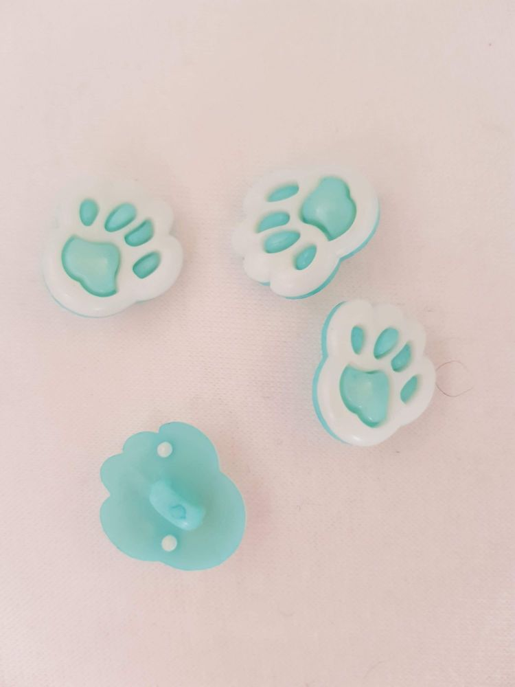 Turquoise Paw Button 13mm (Pack of 10)