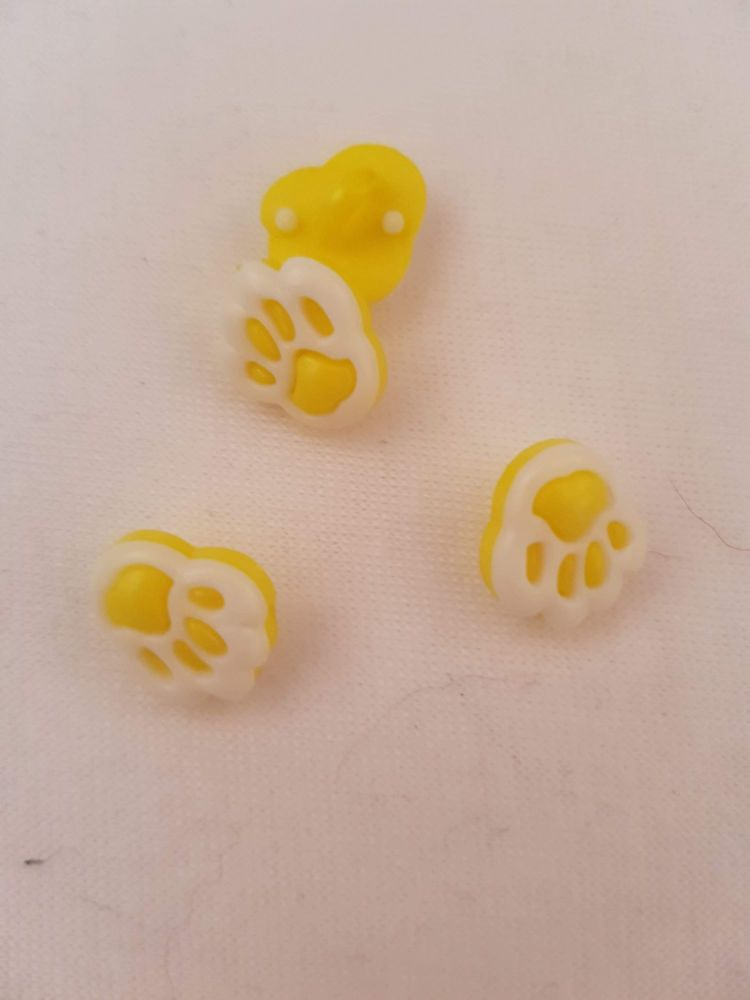 Yellow Paw Button 13mm (Pack of 10)