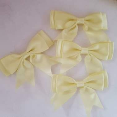 Yellow/Lemon Bow 80mm (Pack of 3)