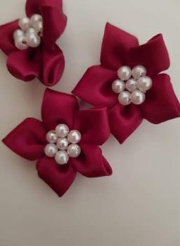 Burgundy Satin Flower with Bead Centre (each)