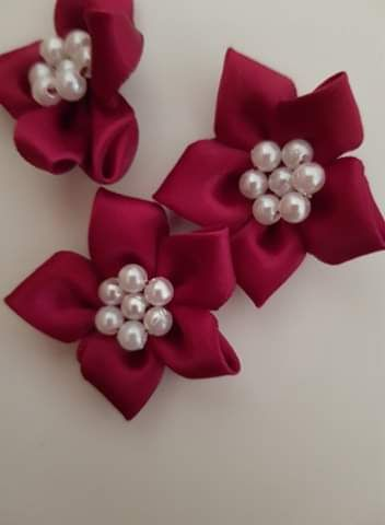 Burgundy Bow with Bead Centre
