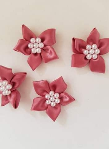 Dusky Pink Satin Flower with Bead Centre (each)
