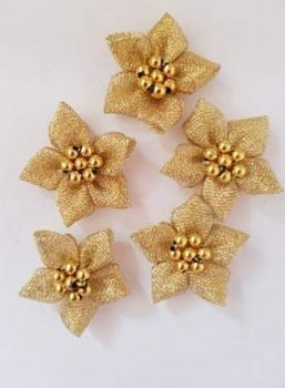 Gold Lurex Flower with Bead Centre (each)