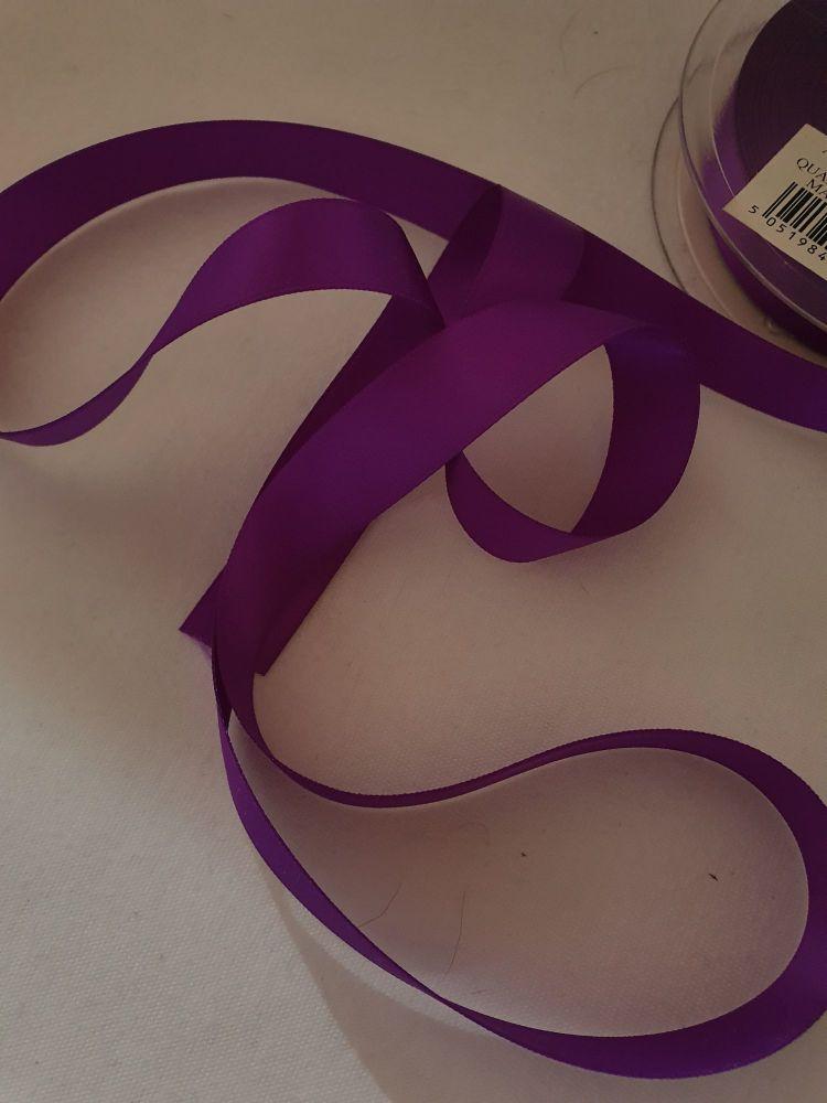 Purple Double Satin Ribbon 15mm (per metre)