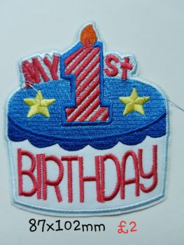 1st Birthday Motif  - Blue