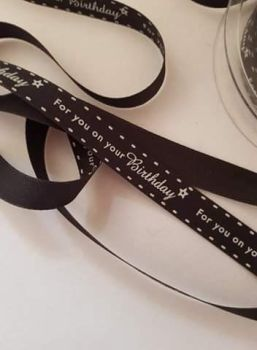 Black Birthday Ribbon 16mm (per metre)