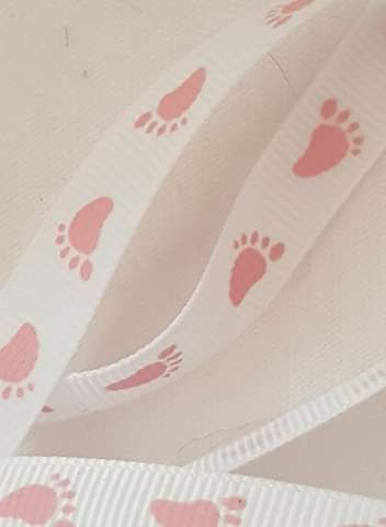 White with Pink Feet Grosgrain Ribbon 10mm (per metre)