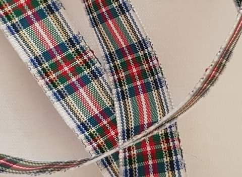 Tartan White Dress Stewart 16mm (per metre)