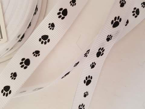 White with Black Paw Print 10mm (per metre)
