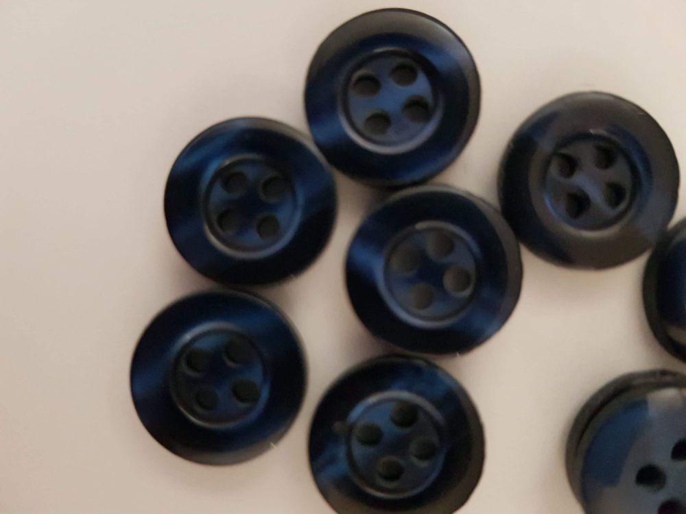 Dark Blue Button 13mm (each)