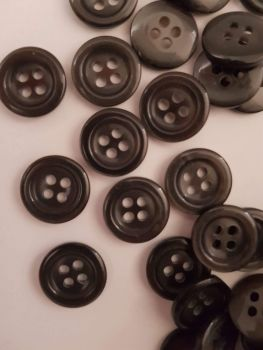Dark Grey Button 14mm (each)  Was 10p each