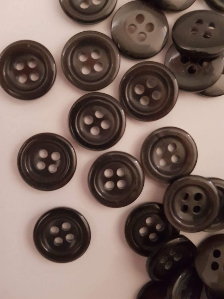 Dark Grey Button 14mm (each)