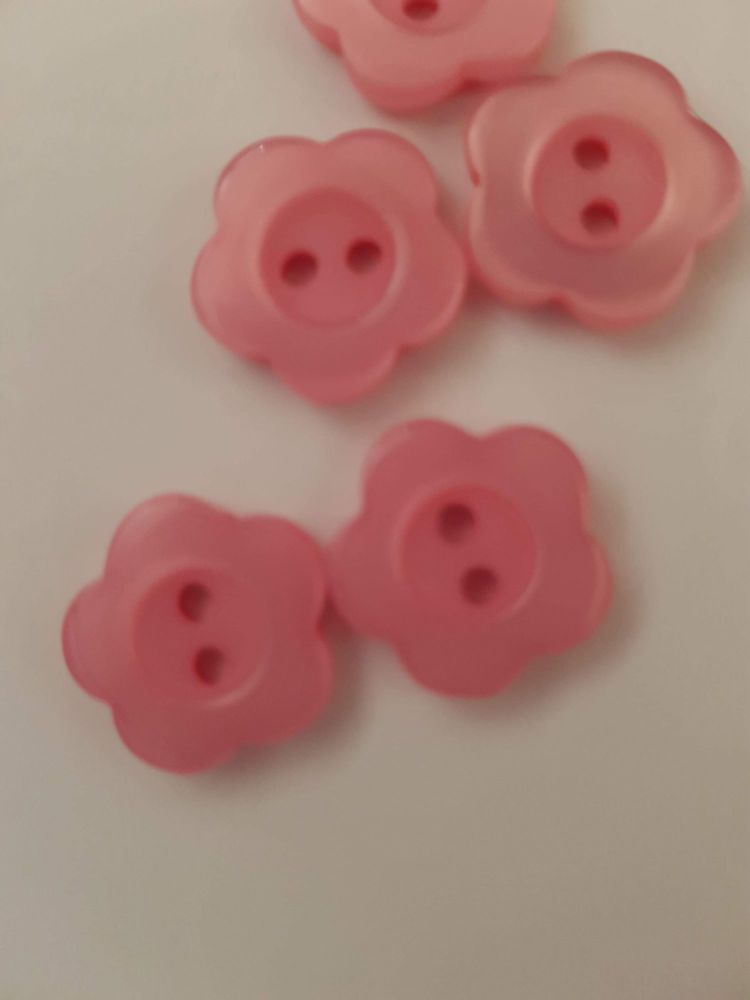 Pink Flower Button 15mm (Pack of 10)