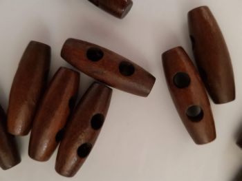 Brown Wooden Toggle 30mm (each)