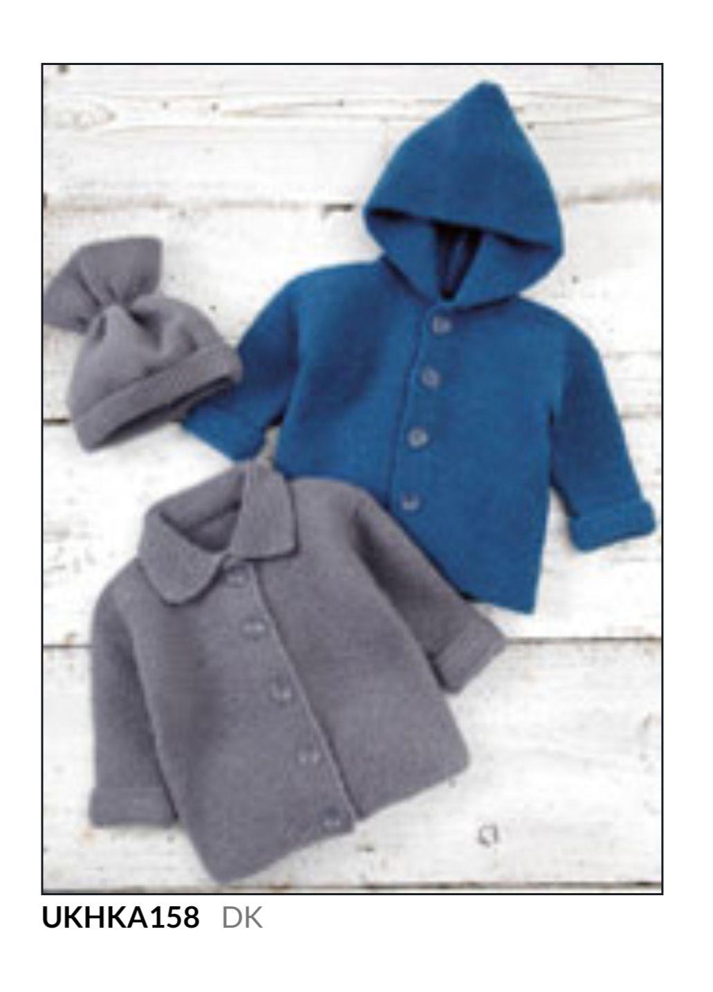 Childrens Knitting Pattern Hooded Jacket UKHKA56