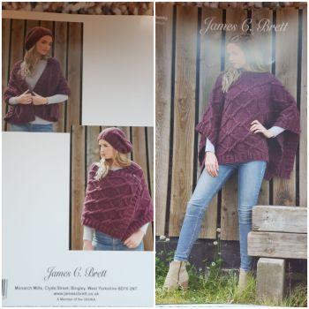 Ladies Knitting Pattern Poncho/Shawl JB638