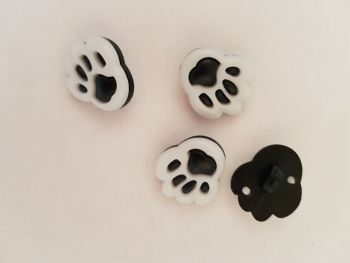 Black Paw Buttons 20mm (Pack of 8)