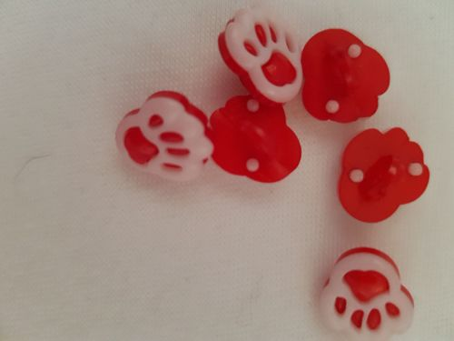 Red Paw Buttons 20mm (Pack of 8)