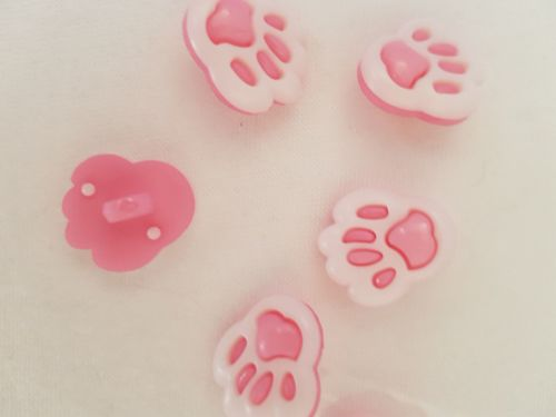 Pink Paw Buttons 13mm (Pack of 10)