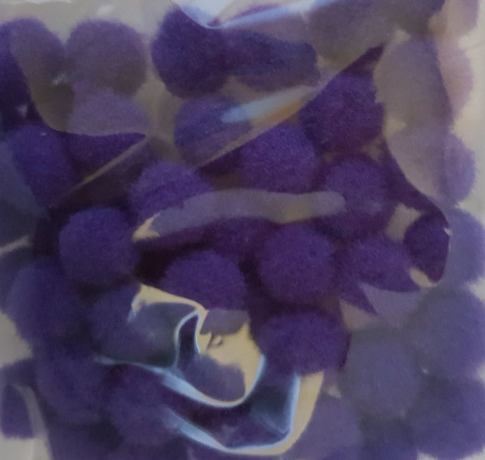 Purple Pom Poms 10mm (Pack of 50)
