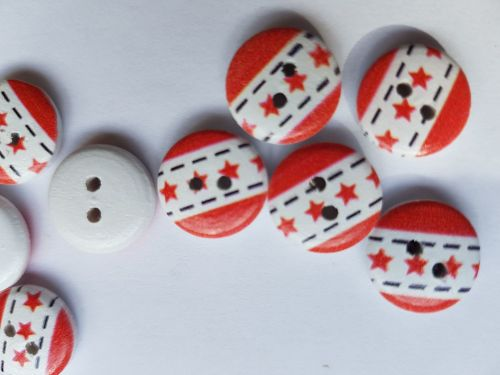 Wooden Button - Red/White Stars/Stripe  13mm (Pack of 12)
