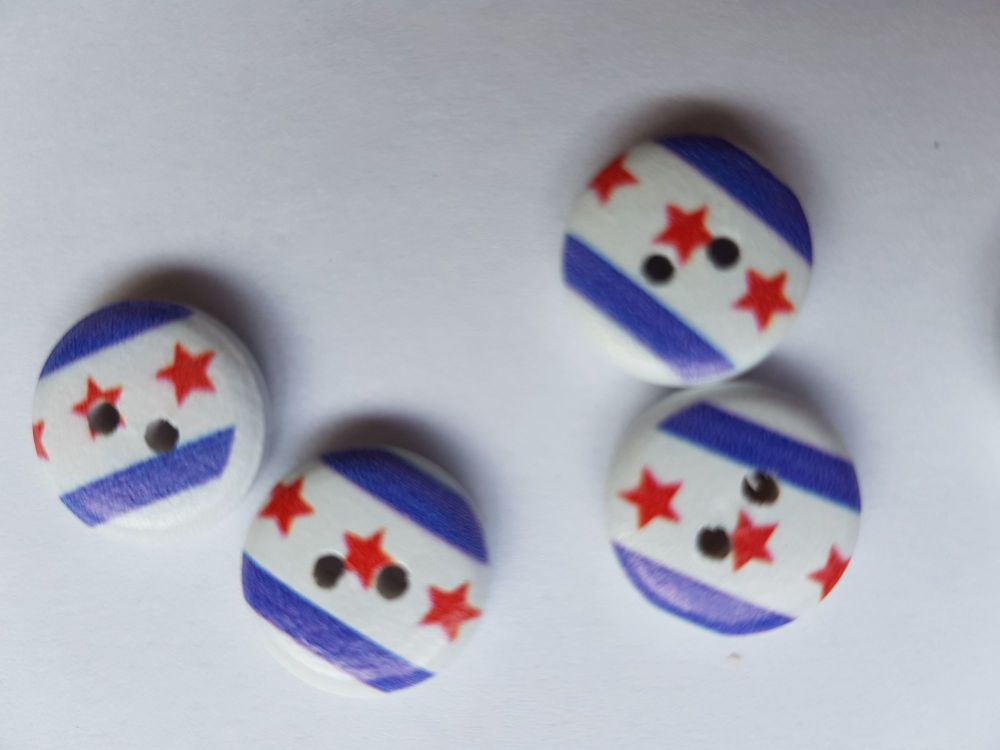 Wooden Button - Blue/White Stars/Stripe 13mm (Pack of 12)