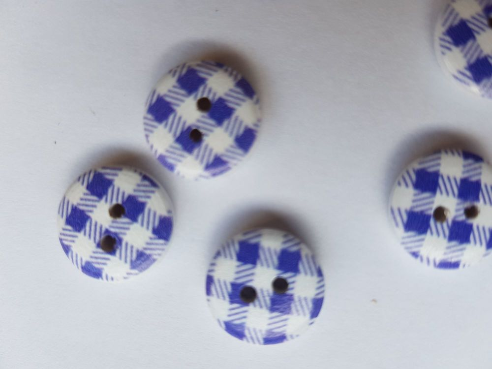 Wooden Button - Blue/White Check 13mm (Pack of 12)
