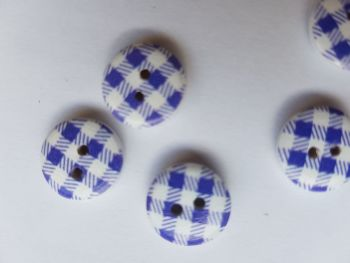Blue/White Check Wooden Button 13mm (Pack of 12)