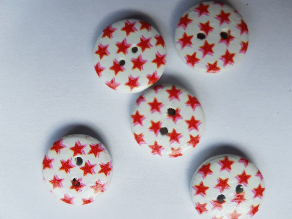 Wooden Button - White with Red Stars 15mm (Pack of 12)
