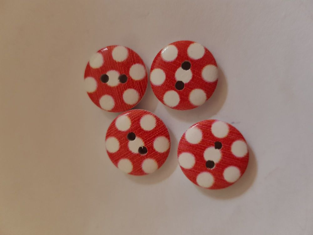 Red with White Dot Wooden Buttons 15mm (Pack of 8)
