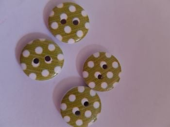 Green with White Dot Wooden Buttons 15mm (Pack of 8)