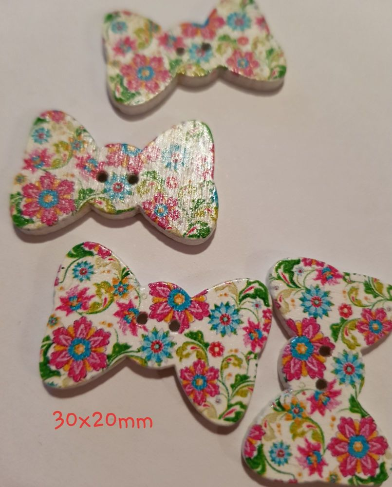 White with Flowers Bow Shaped Wooden Button 30mmx20mm (Pack of 6)
