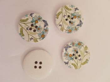 White with Flower Wooden Button 30mm (Pack of 3)
