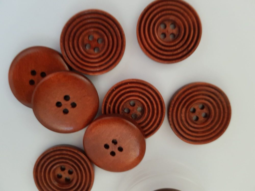 Brown Wooden Button 25mm (each)