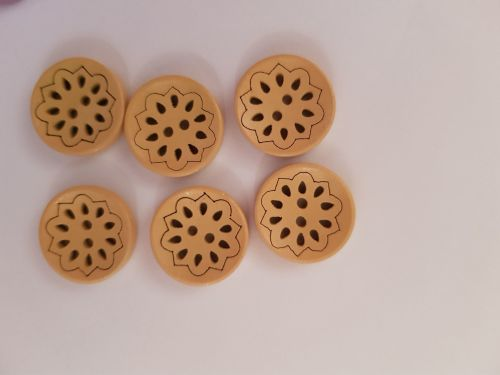Yellow Round Wooden Buttons 18mm (Pack of 6)