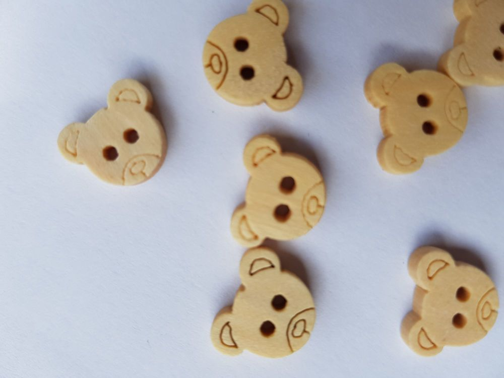 Teddy Wooden Buttons 12mm (Pack of  10)