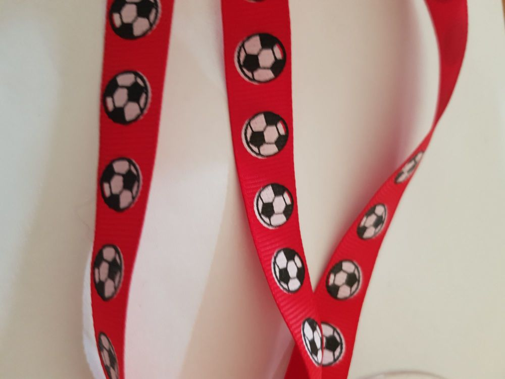 Red Football Grosgrain Ribbon 14mm (per metre)