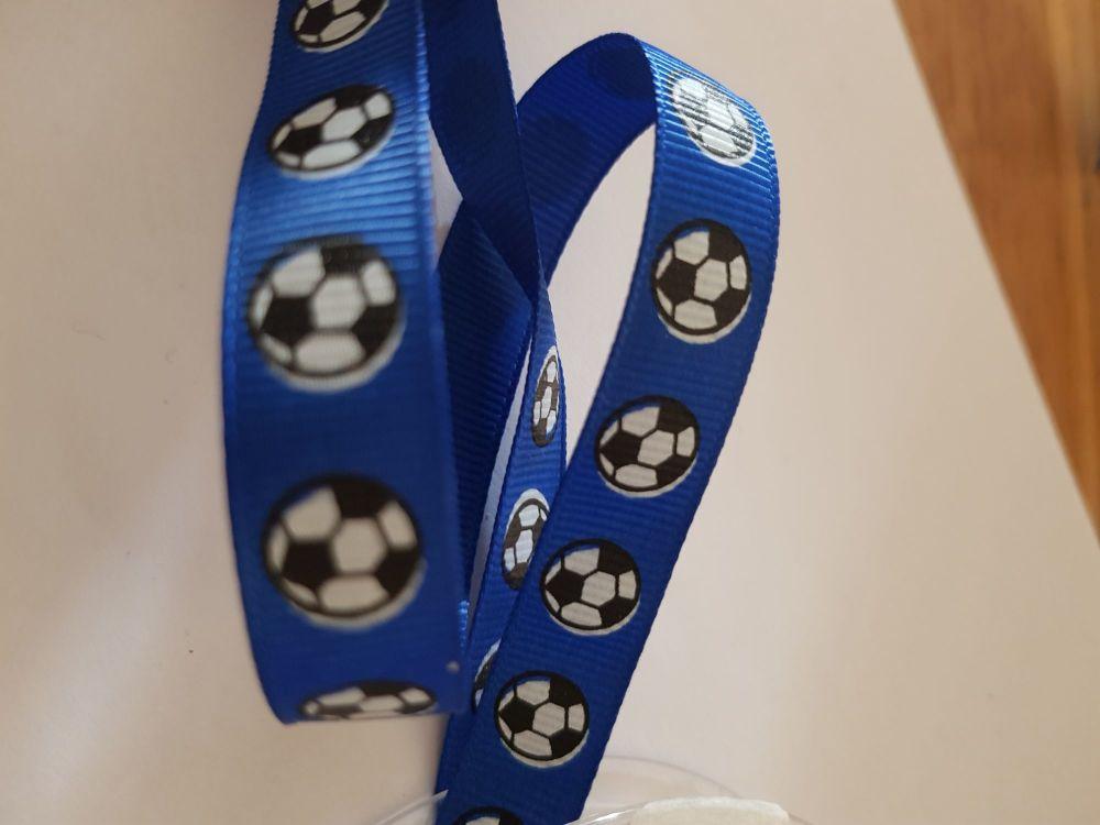 Blue Football Grosgrain Ribbon 14mm (per metre)