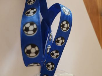Blue Football Grosgrain Ribbon 14mm (per metre)