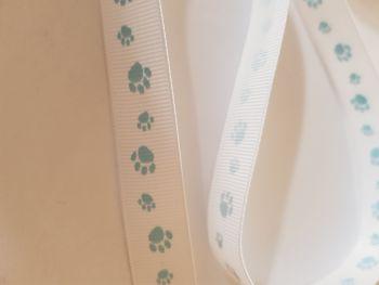 White with Blue Paw Grosgrain Ribbon 18mm (per metre)