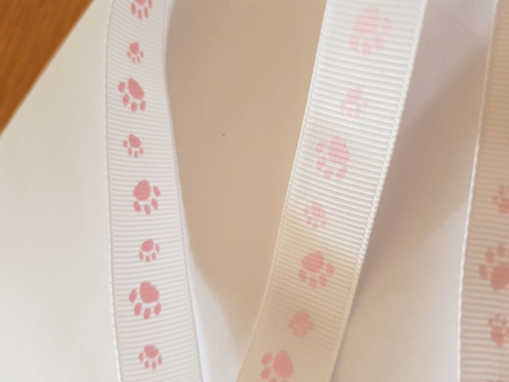 White with Pink Paw Grosgrain Ribbon 18mm (per metre)
