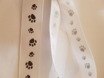 White with Brown Paw Grosgrain Ribbon 18mm (per metre)