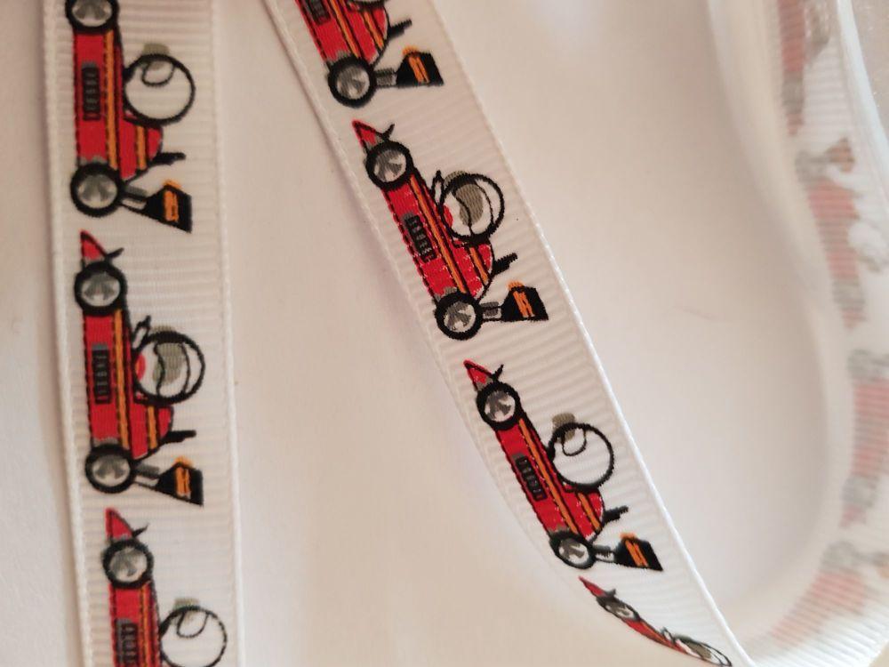 Racing Car Grosgrain Ribbon 13mm (per metre)