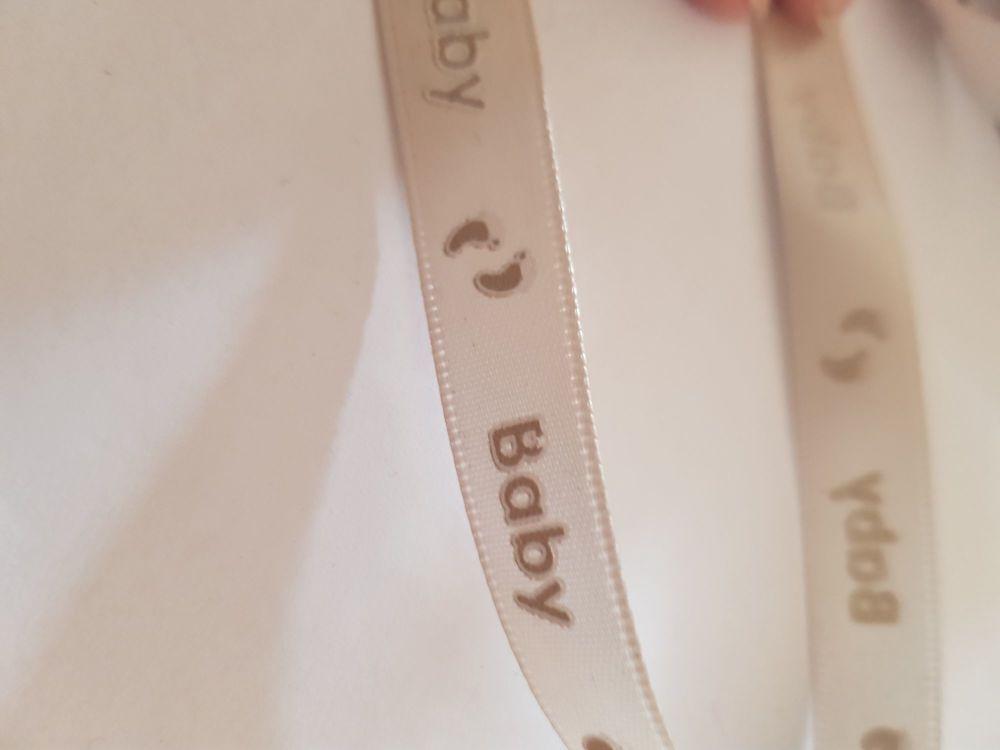 Cream Baby 👣 Ribbon 12mm (per metre)