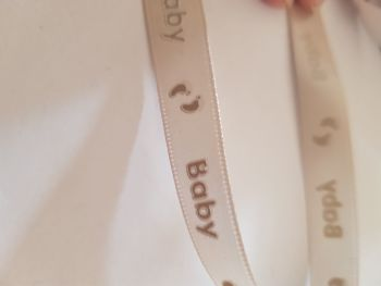 Cream Baby 👣 Ribbon 12mm (per metre)