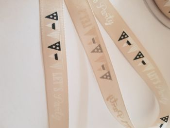 Cream Let's Party Ribbon 15mm ( per metre)