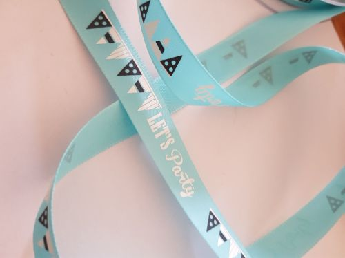 Turquoise Let's Party Ribbon 15mm ( per metre)