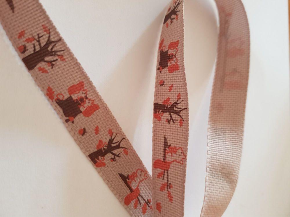 Orange Squirrel Ribbon 15mm (per metre)
