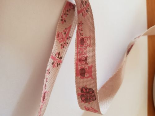 Pink Owl Ribbon 15mm (per metre)