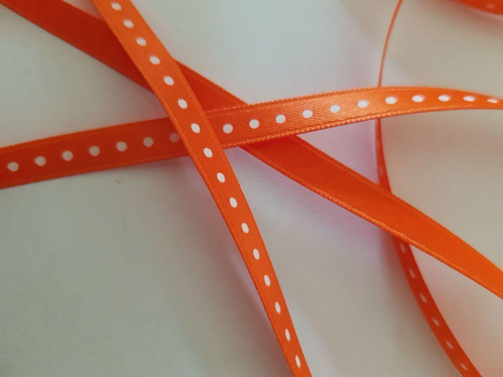 Orange with White Dot Ribbon 6mm (per metre)